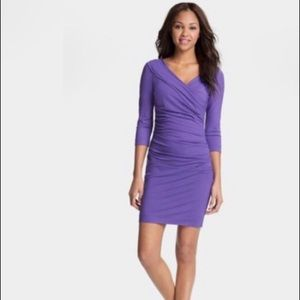 DVF Ruched Purple Knit Dress
